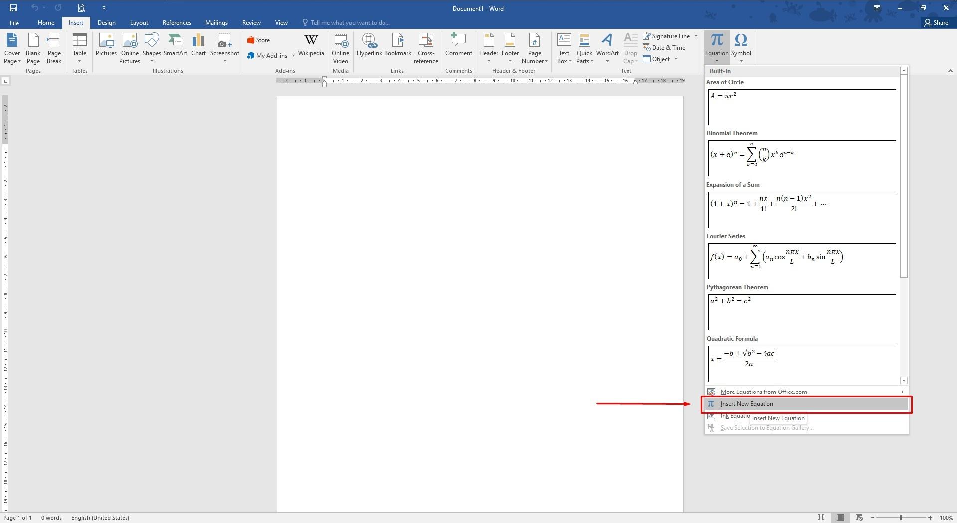 Cara Membuat Bilangan Pecahan di MS Word - New Insert Equation